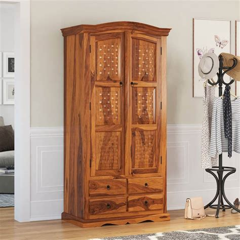 Wooden Armoire Handcrafted Solid Wood Armoire Wardrobe With Drawers