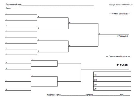 Tournament Draw Sheets Templates by Strongvon Free Blank Bracket Sheets