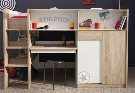 chambre combiné lit combiné enfant contemporain chêne brut blanc sportwear