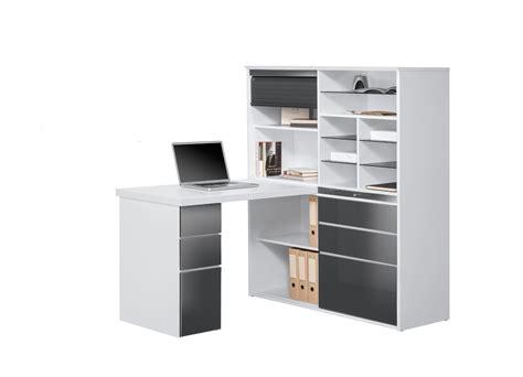 bureau blanc bureau contemporain avec rangement blanc gris brillant