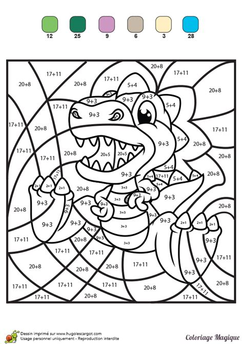 coloriage magique tables de multiplication cm1 coloriage magique additions tyranosaure rex color by number for adults and children