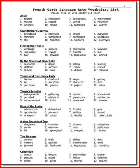 4th grade 187 4th grade vocabulary words worksheets