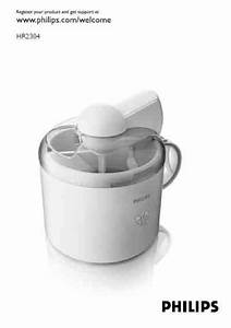 Philips Ice Cream Maker Ice Cream Maker Download Manual