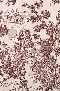 Vintage Fabric Rustic Country French Style Toile Print