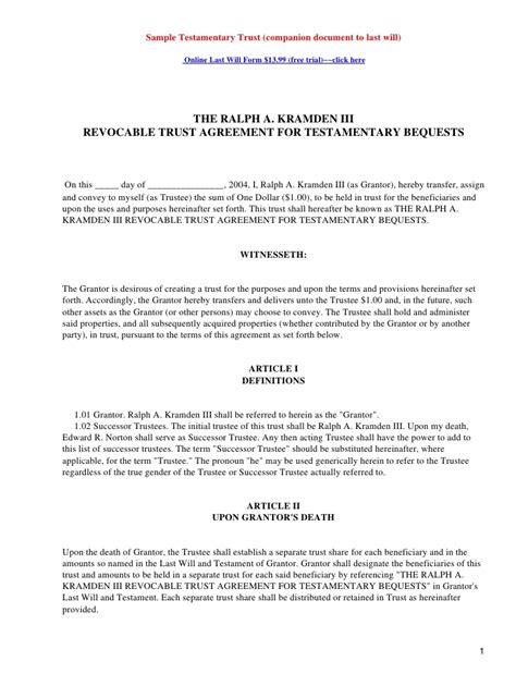 Trust Agreement Template Uk by Sle Testamentary Trust Companion Document To Last Will