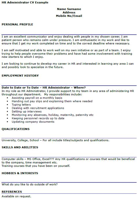hr administrator description resume hr administrator cv exle cover letters and cv exles