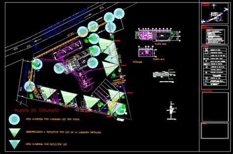 lighting gas station dwg plan  autocad designs cad