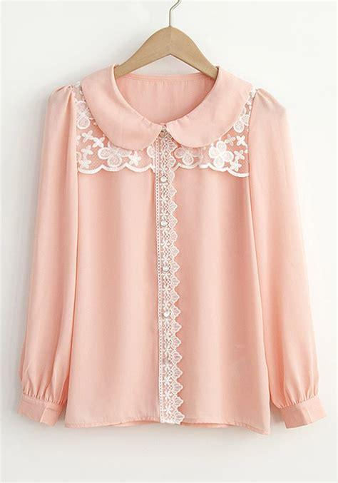 collar blouse pink pan collar puff sleeve chiffon blouse blouses