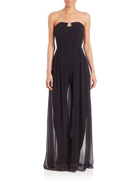 lyst strapless georgette overlay jumpsuit in black