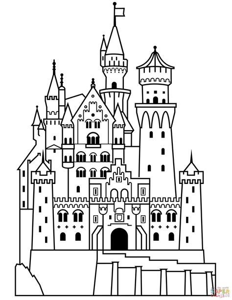 coloring castle neuschwanstein castle coloring page free printable