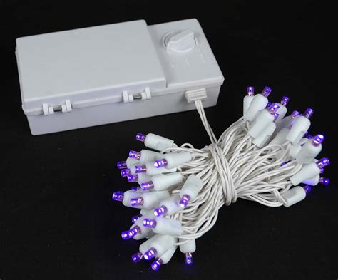 50 led battery operated lights purple on white