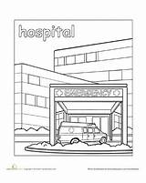 Hospital Coloring Places Pages Worksheet Community Town Education Colouring Preschool Worksheets Printable Sheets Doctor Paint Office Drawing Books Helpers Ems sketch template