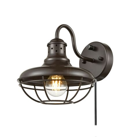 rustic plug in wall sconce with switch farmhouse cage gooseneck kitchen lighting ebay