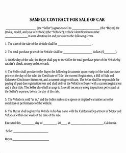sample used car sale contract 7 examples in word pdf With contract template for selling a car