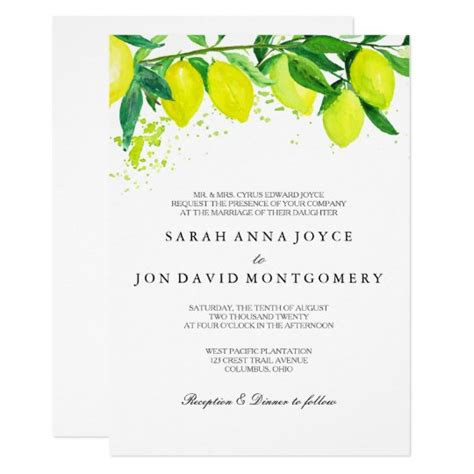 Watercolor Citrus/Lemon Wedding Invitation Zazzle com