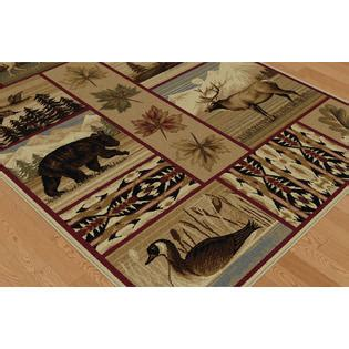 wildlife area rugs tayse rugs nature scenic wildlife lodge area rug 5 3 x