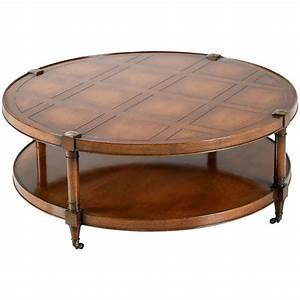 heritage mahogany round coffee table on casters for sale With round coffee table with casters