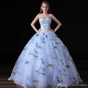 organza ball gown prom dresses pattern flowers blue With prom dress templates