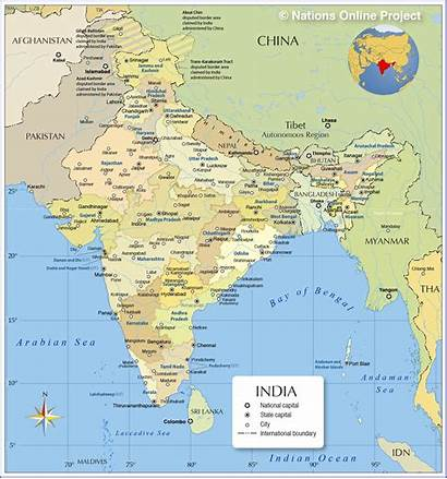 India Map Administrative Cities States Maps Major