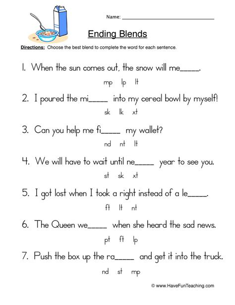ending blends worksheet 2