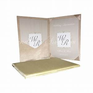 luxury silk covered book fold wedding invitation with With pocket book wedding invitations