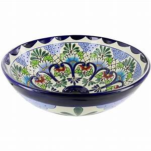 mexican tile tabasco round vessel above the counter With talavera bathroom sinks