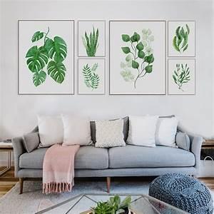 Modern Watercolor Green Leaf Floral Plant Cottage Canvas