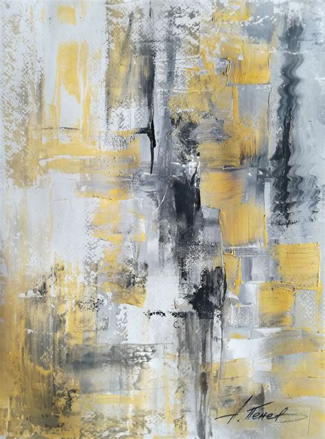 Abstract Black Painting by Black White Yellow Texture Abstract Painting By A Penev