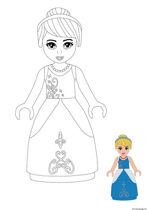 lego princess cinderella coloring pages printable