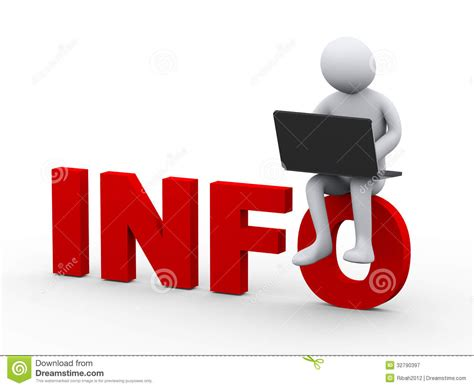 3d Man With Laptop Sitting On Word Info Stock Illustration