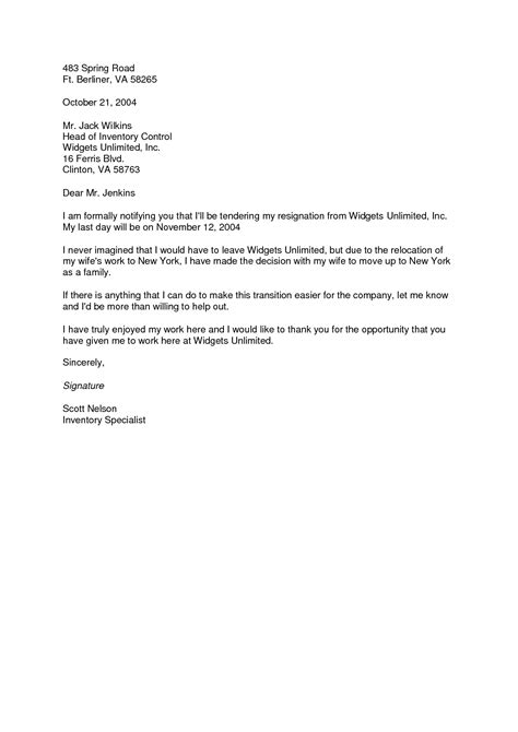 Cover Letter For Moving To A New City by Resignation Letter Format Sle Cover Resignation Letter