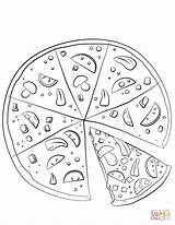 Pizza Coloring Pages Sliced Printable Drawing Fraction Template Sketch sketch template
