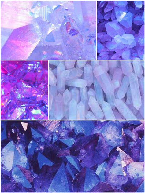 purple blue  pink crystal aesthetic collage