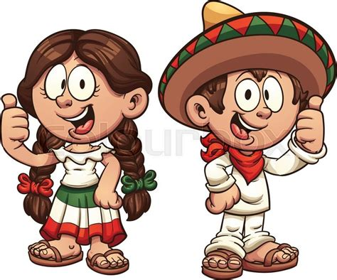 Cartoon Kids In Traditional Mexican Clothing. Vector Clip