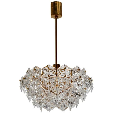 Midcentury Modern Chandelier, Goldplated With Molded