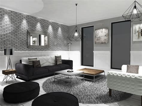 Grey And White Living Room Plan