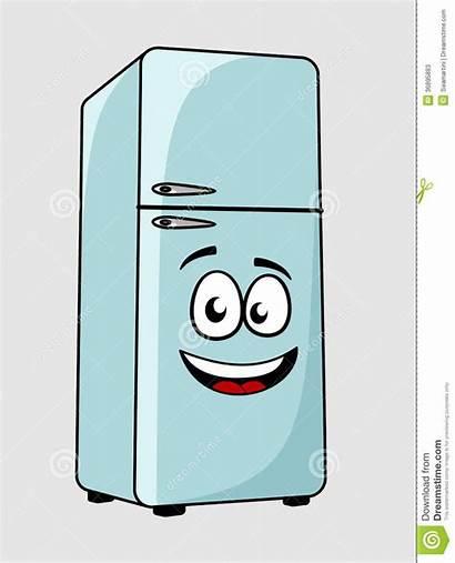 Fridge Cartoon Character Refrigerator Face Smiling Background
