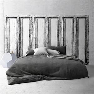 Tete De Lit Bois Blanc : t te de lit effet de mati re panneau en bois noir et blanc ~ Teatrodelosmanantiales.com Idées de Décoration