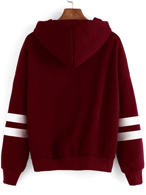 hooded drop shoulder sweatshirt drop shoulder varsity striped hoodie shein sheinside
