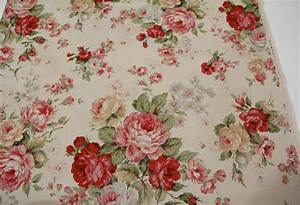 Rose Floral fabric 3 yards plus 19 inches vintage look