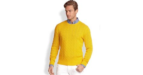 Polo Ralph Lauren Cableknit Cashmere Sweater In Yellow For Men