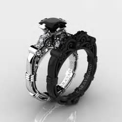 black wedding ring sets masters caravaggio 14k black and white gold 1 25 ct princess black and white