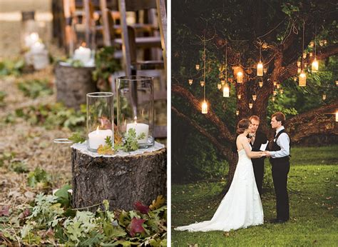 tree stump aisle decor highlands nc wedding inspiration