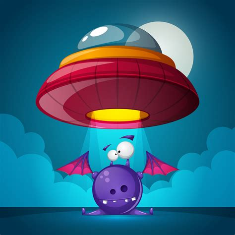 Cartoon characters horror. Ufo illustration. Cartoon ...