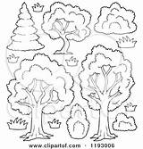 Trees Shrubs Flowers Cartoon Clipart Shrubbery Vector Outlined Lush Coloring Pages Royalty Visekart Template sketch template