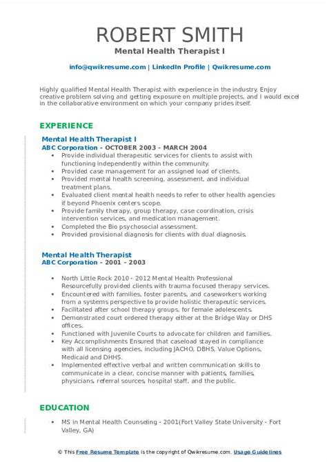 mental health therapist resume samples qwikresume