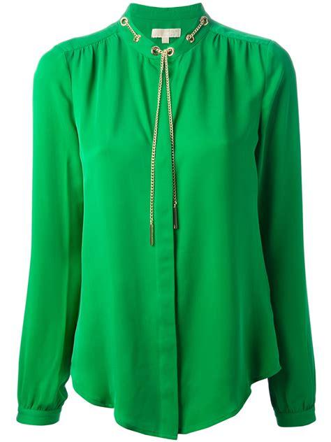 michael kors blouse michael michael kors chain detail blouse in green lyst