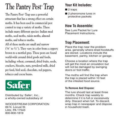 Safer The Pantry Pest Trap Safer Brand 05140 The Pantry Pest Trap 2 Moth Traps New