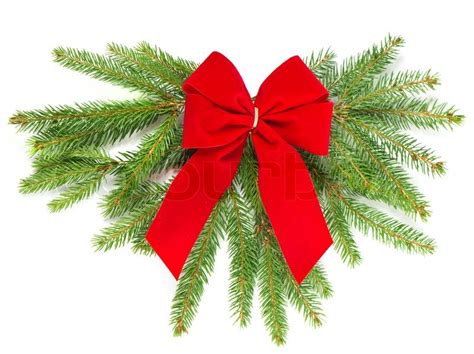 christmas tree branch with red ribbon christmas decoration