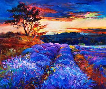 Painting Lavender Fields Artwork Flower Landscape Wallpapers